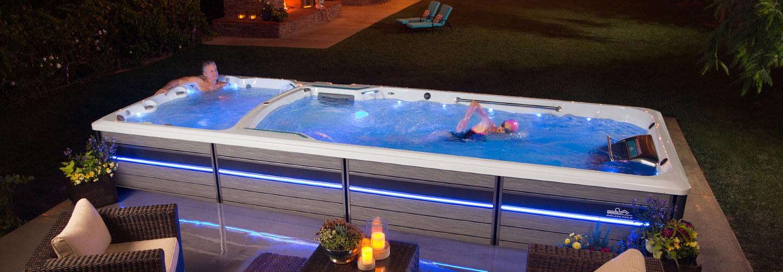 Dual temp swim spa swim spa hot tub hot tub swim spa for Swim spa in garage